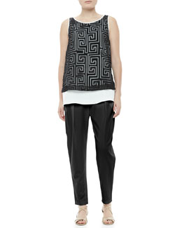 Elizabeth and James Martine Sheer-Overlay Tunic & Darcy Pleated Relaxed Pants