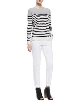 Vince Colorblock Striped Cashmere Sweater and Twill Boyfriend Trousers