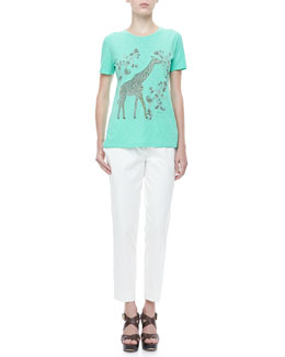 Etro Giraffe Short-Sleeve Cotton Tee & Front-Closure Ankle Pants