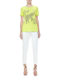 Etro Short-Sleeve Elephant Tee & Front-Closure Ankle Pants