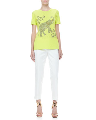 Short-Sleeve Elephant Tee & Front-Closure Ankle Pants