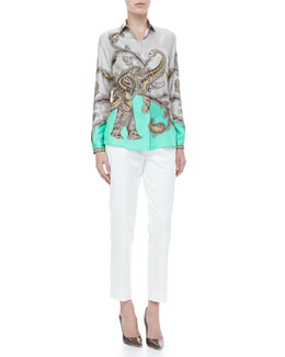 Etro Paisley-Elephant Blouse & Front-Closure Ankle Pants