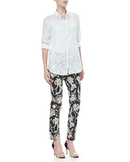 Etro Long-Sleeve Paisley Blouse & Floral-Print Front-Closure Pants