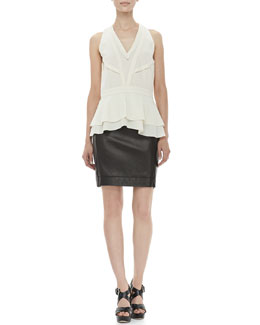 Diane von Furstenberg Talisha Tier-Hem Top, Ecru & Rita Two Leather Skirt