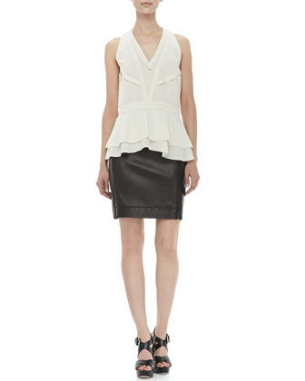 Talisha Tier-Hem Top, Ecru & Rita Two Leather Skirt