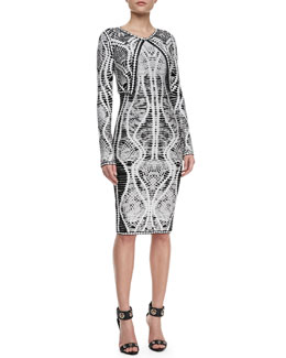 Herve Leger Mix-Pattern Cropped Jacket & Bandage Dress