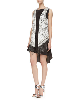 Tuck Lace-Back Hi-Low Dress & Silk Charmeuse Beaded Vest