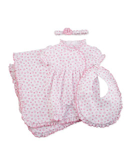 Kissy Kissy Baby Hearts & Roses Playsuit, Blanket, Bib & Headband
