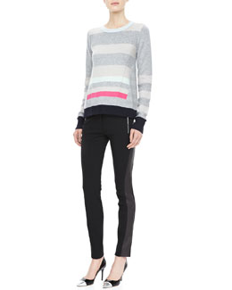 Diane von Furstenberg Beth Striped Cashmere Sweater & Leah Leather-Panel Leggings