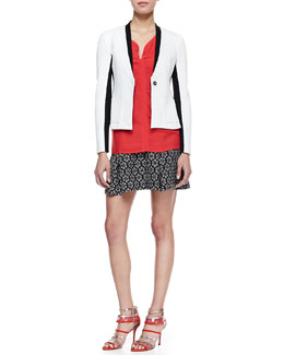 Nanette Lepore Captivated Two-Tone Jacket, Lawless Stud-Trim Sleeveless Top & Perfect Fling Printed Knit Skirt