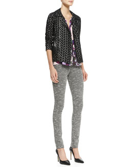 Nanette Lepore Love Lace Zip Jacket, Crazy For You Floral-Print Top & Provocative Textured Knit Skinny Pants