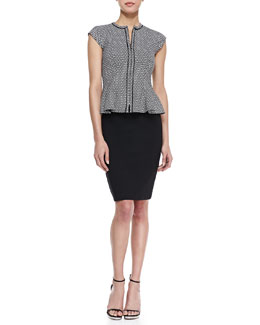 Nanette Lepore Almost Heaven Printed Peplum Top & Simply Magic Pencil Skirt