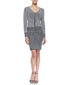 Nanette Lepore One & Done Front-Zip Cardigan & Minx Printed Knit Skirt