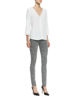 Nanette Lepore Risky Business Stud-Trim Top & Provocative Textured Knit Skinny Pants