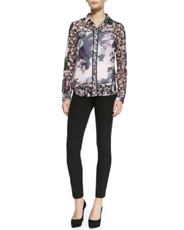 Nanette Lepore Spellbound Floral Patterned Blouse & Light Me Up Skinny Pants