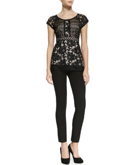 Nanette Lepore Kiss In The Dark Two-Tone Lace Top & Light Me Up Skinny Pants