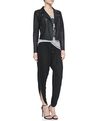 Cropped Leather Motorcycle Jacket, Skull-Graphic Slub Tee & Jersey Harem Pants with Drawstring