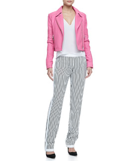 J Brand Ready to Wear Aiah Cropped Leather Jacket, Lucy Sheer-Back Top & Delia Striped Straight-Leg Trousers