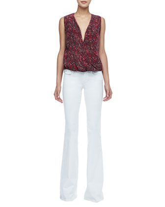 Kiara Printed High-Low Blouse & Rachel Low-Rise Flared Jeans