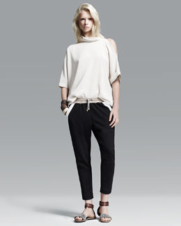 Brunello Cucinelli Silk Top, Spa Pants, Slim Cuff, Wide Wrist Cuffs, and Leather Belt