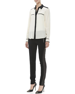 Diane von Furstenberg Marah Long Sleeve Contrast Blouse & Leah Leather-Panel Leggings