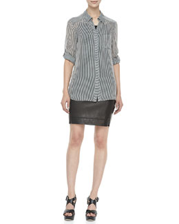 Diane von Furstenberg Lorelei Printed Blouse & Rita Two Leather Skirt