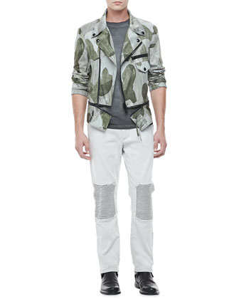 Worthing Camo Print Asymmetric Jacket, Ketley Jersey Short-Sleeve T-Shirt & Denim Biker Jeans