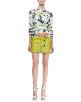 Opening Ceremony Five Element Printed Sweater and Crackled Leather Snap Miniskirt