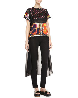 Jean Paul Gaultier Mixed-Print Short-Sleeve Tee & Pants with Skirted Back