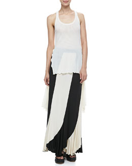 Jean Paul Gaultier Sheer High-Low Solid Tank & Jersey Paneled Maxi Skirt