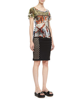 Jean Paul Gaultier Flutter-Sleeve Printed Tee & Side-Crochet Fitted Skirt