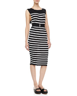 Jean Paul Gaultier Wide Elastic Belt & Striped Sleeveless Knit Dress