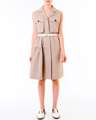 Compact Cotton Safari Shirtdress & Push-Lock Belt