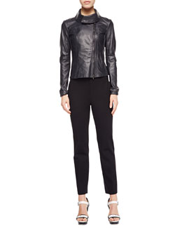 Armani Collezioni Large-Collared Leather Jacket, Sleeveless Striped Tank & Cropped Double-Face Jersey Pants