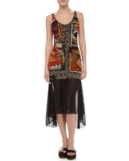 Jean Paul Gaultier Printed Sheer-Overlay Swimdress & Sheer Arch-Hem Sarong
