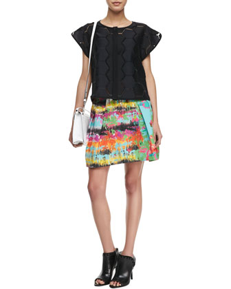 Hexagon-Cutout Short-Sleeve Top & Raquel Pleated Printed Skirt