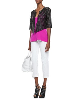 Milly Laser-Cut Leather Jacket, Silk V-Neck Tank & Layney Cropped Trousers