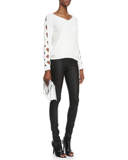 Milly Cutout-Sleeve Ribbed Sweater & Python-Embossed Leather Leggings