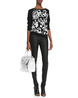 Milly Skull-Jacquard Knit Sweatshirt & Python-Embossed Leather Leggings