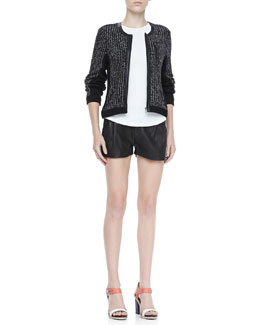 Rag & Bone Paula Knit Zip Jacket, Dakota Seam-Back Tee and Leather Tennis Shorts