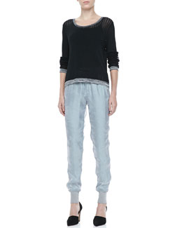 Rag & Bone Ariana Perforated Split-Back Pullover and Lee Shiny Track Pants