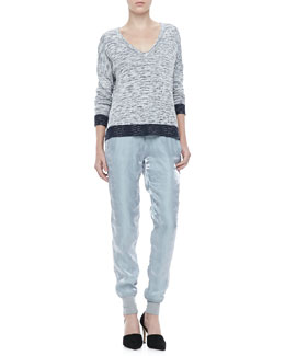 Rag & Bone Dionne V-Neck Sweater and Lee Shiny Track Pants