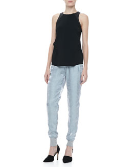 Rag & Bone Nudie Tonal-Trim Top & Lee Shiny Track Pants