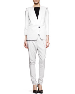Helmut Lang Ark Peak-Front Suiting Blazer and Pleated Pants & Faint Cap-Sleeve Tank