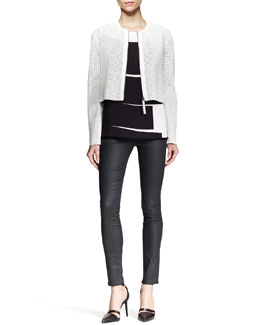 Helmut Lang Sift Perforated Crop Jacket and Litho Print-Front Tee