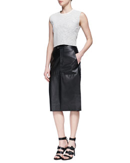 Helmut Lang Stilt Perforated Leather Crop Top and Paneled Leather Midi Skirt
