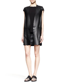 Helmut Lang Stilt Leather Tunic Vest, Faint Cap-Sleeve Tank & Plonge Leather Pencil Skirt