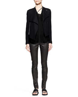Helmut Lang Sonar Wool Cropped Jacket, Lush Twist-Back Shirt & Elst Coated Coal Leggings