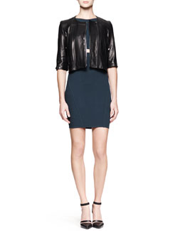 Helmut Lang Petal Cropped Leather Jacket and Gala Peekaboo Knit Dress
