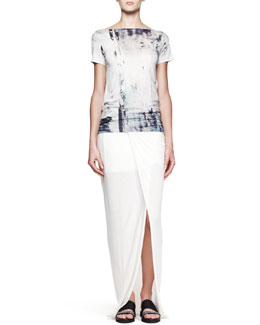 Helmut Lang Tidal Printed Cowl-Back Top and Lush Slit Maxi Skirt